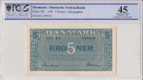 Denmark 5 Kroner Blue - 1945 - PCGS 45