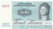 Denmark 50 Kroner, Mrs Ryberg - Fish  - 1997 - Serial D4 -P.50n UNC