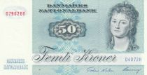 Denmark 50 Kroner, Mrs Ryberg - Fish  - 1997 - Serial D4