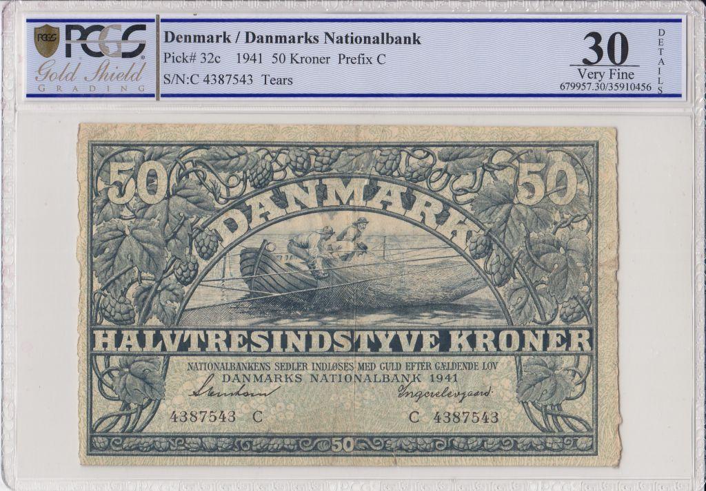 Denmark 50 Kroner Fishermans in boat - 1941  - PCGS VF 30