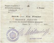 Deutschland 1 Franc MPC - First German Army