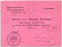 Deutschland 2 Francs MPC - First German Army