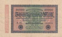 Deutschland 20000 Mark Black on pick and green - Small circle watermark 1923