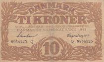 Dinamarca 10 Kronen 1941 - Hermes - Serial Q