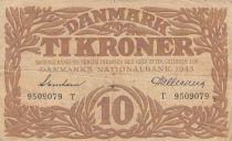 Dinamarca 10 Kronen 1943 - Hermes - Serial T