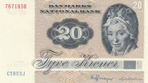 Dinamarca 20 Kroner, Pauline Tutein - House Sparrow - 1985 - Serial C5 - 2nd ex