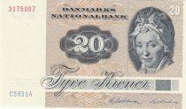 Dinamarca 20 Kroner, Pauline Tutein - House Sparrow - 1985 - Serial C5