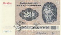 Dinamarca 20 Kroner, Pauline Tutein - House Sparrow - 1988 - Serial C7 - 2nd ex