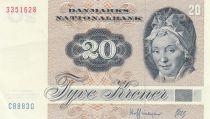 Dinamarca 20 Kroner, Pauline Tutein - House Sparrow - 1988 - Serial C8