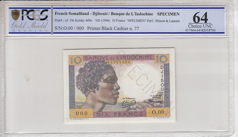Djibouti 100 Francs Young man - 1946 Specimen n° 77 PCGS 64