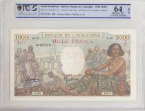 Djibouti 1000 Francs ND1938 market scene - PCGS MS 64