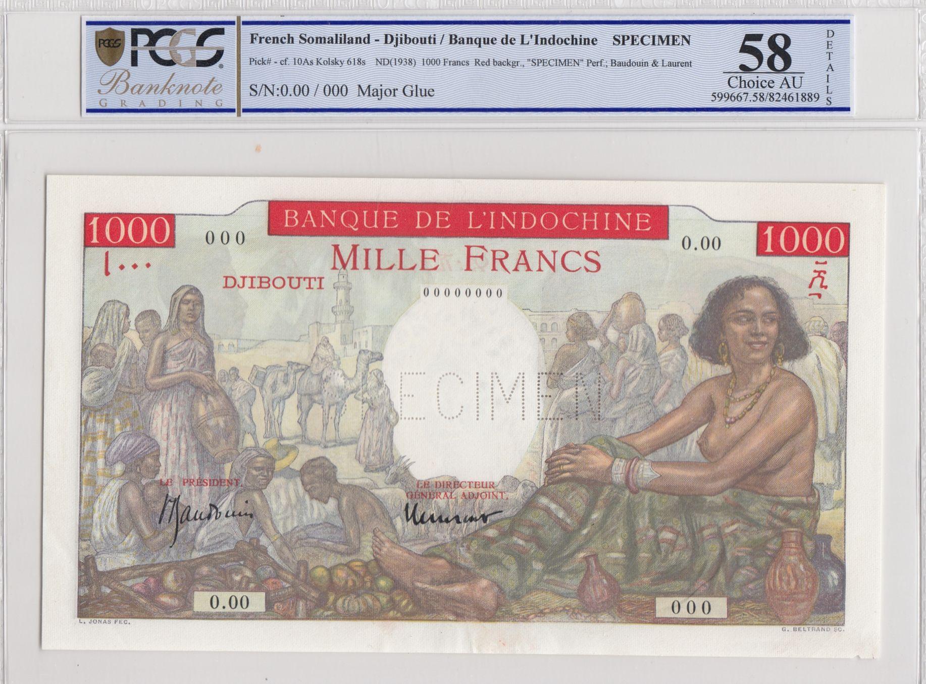 Djibouti 1000 Francs Red backgr. ND1938 - PCGS AU58 Specimen