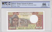 Djibouti 1000 Francs Trains - Camels -  1991 - Serial  T.004 - PCGS 66 OPQ