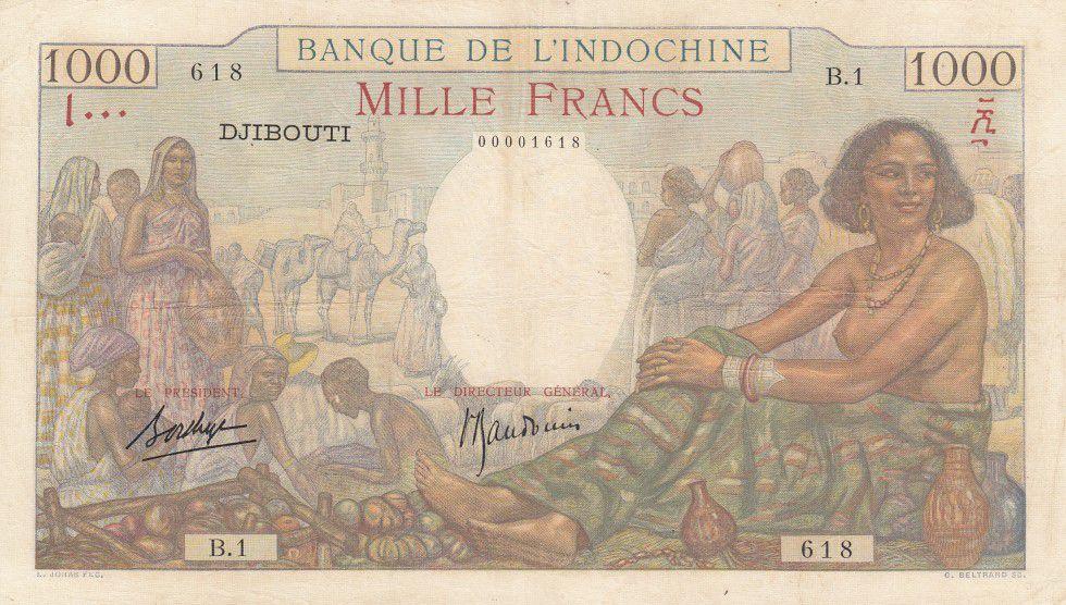 Djibouti 1000 Francs Woman seated, market - 1938 Serial B.1