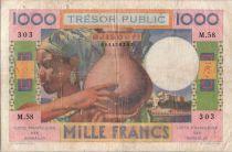 Djibouti 1000 Francs Womand and jug - 1952