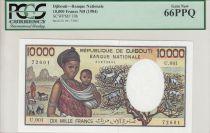 Djibouti 10000 Francs Womand and child, goats - 1984 - PCGS 66PPQ
