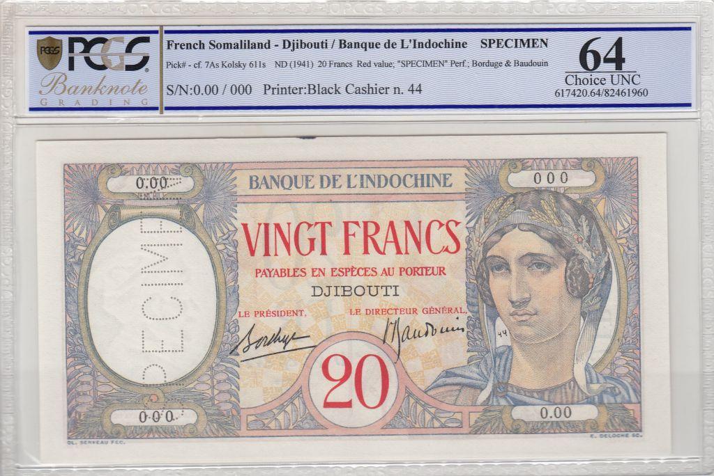 Djibouti 20 Francs Au paon  ND 1941 - PCGS 64 UNC