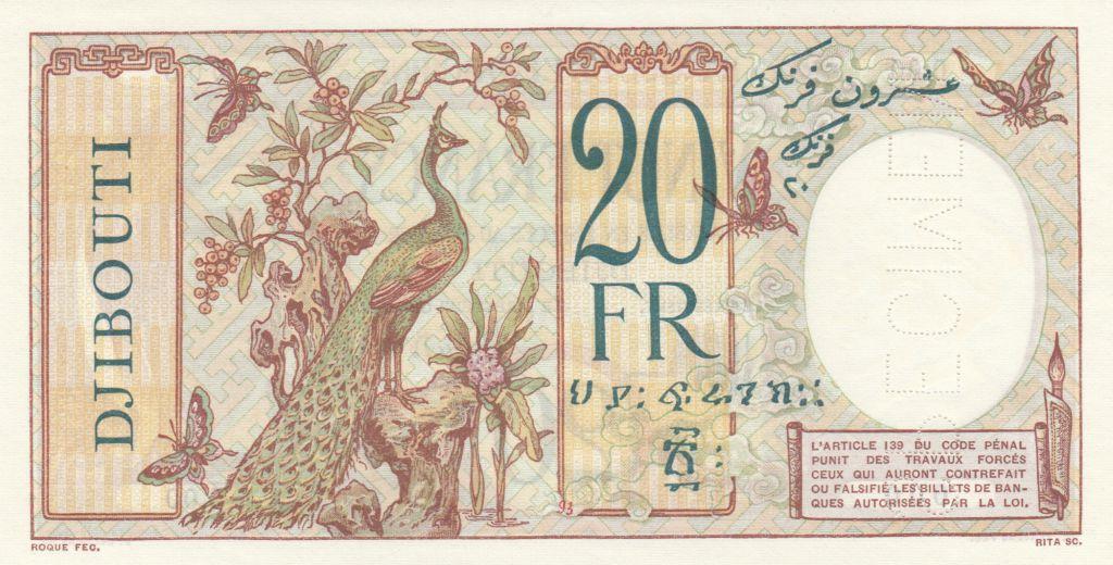 Djibouti 20 Francs au Paon ND (1932) - Spécimen