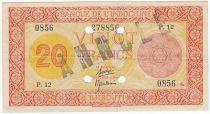 Djibouti 20 Francs Impr. Palestine - 1945 Spécimen P.12 - TTB