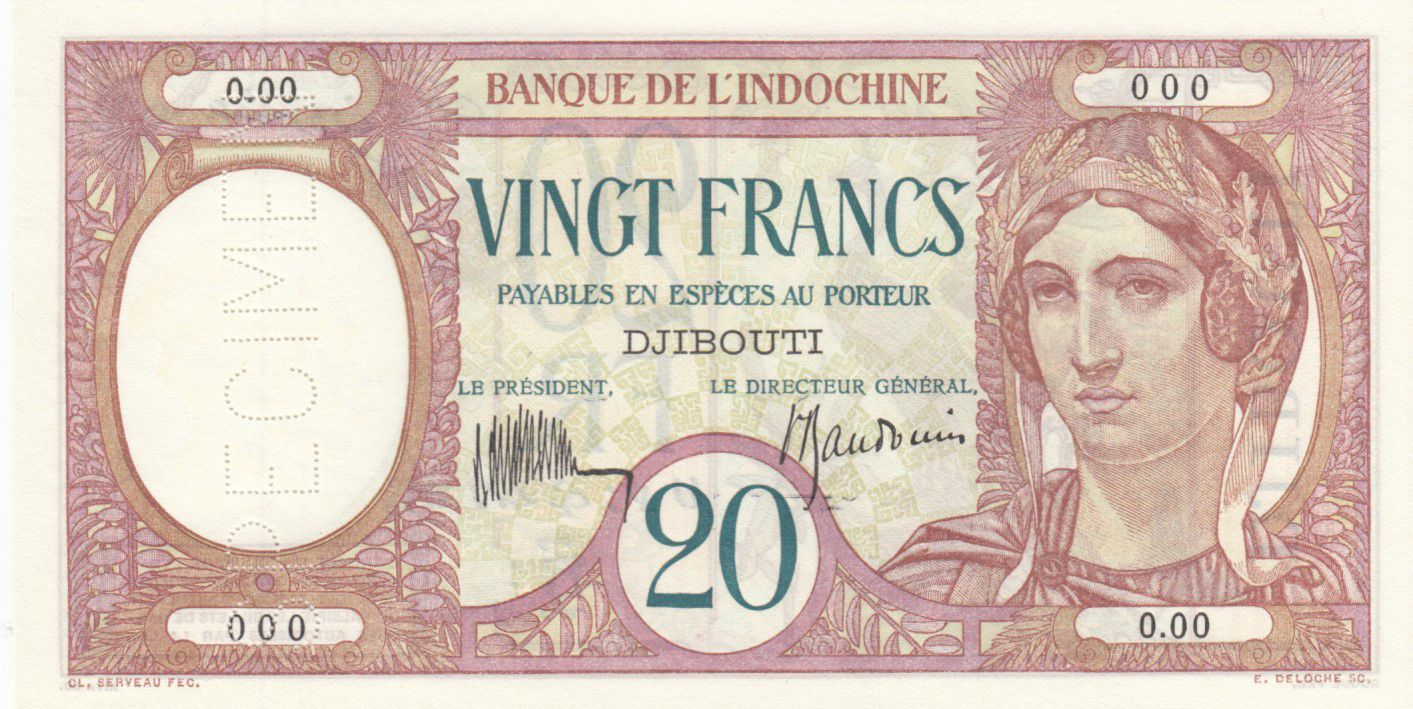 Djibouti 20 Francs Peacock ND (1932) - Specimen - P.7as - UNC