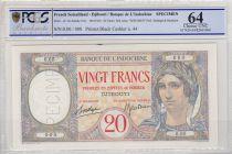 Djibouti 20 Francs Peacock ND 1941 - PCGS 64 UNC
