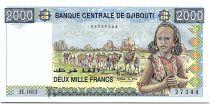 Djibouti 2000 Francs Young girl, camel caravan -  1997 Serial H.003 - UNC - P.43
