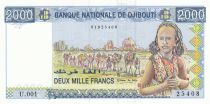 Djibouti 2000 Francs Young girl, camel caravan -  1997 Serial U.001