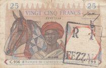 Djibouti 25 Francs 1938(1942) - Homme et cheval, Lion - Chiffres bleus, surchargé RF FEZZAN