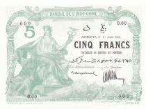 Djibouti 5 Francs 1923 - Serial O.00 - Specimen - UNC - P.4A