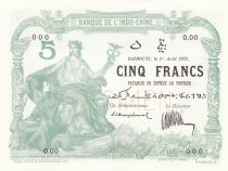 Djibouti 5 Francs 1923 - Série O.00 - Spécimen - P.NEUF