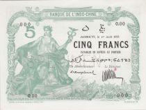 Djibouti 5 Francs femme au sceptre 01-08-1923 - PCGS 64 OPQ