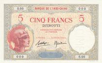 Djibouti 5 Francs Walhain - 1938 Specimen 0.00 - UNC - P.6