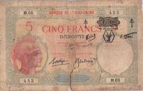 "Djibouti 5 Francs Walhain overprint  \""FC\"" - 1943"