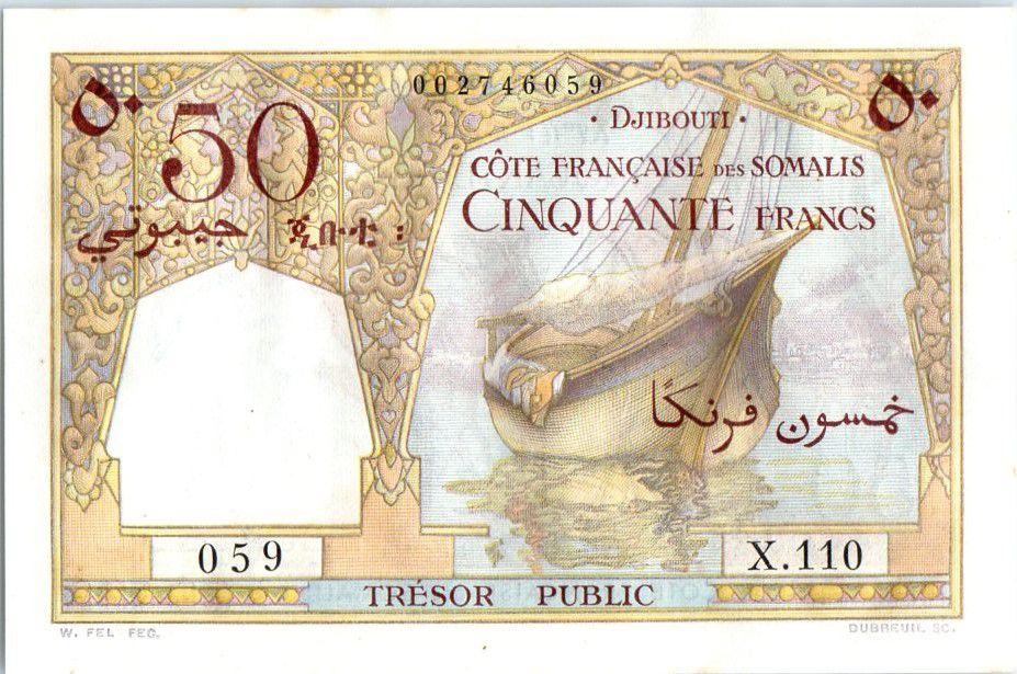 Djibouti 50 Francs Bateau, Chameaux -1952