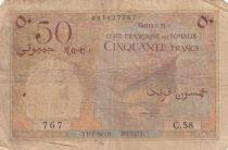 Djibouti 50 Francs ND (1952) - Boat, camels - Serial C.58