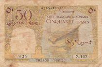 Djibouti 50 Francs ND1952 - Bateau, chameaux - Série Z.102