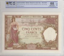Djibouti 500 Francs ND1927 Woman and boat - PCGS AU 55