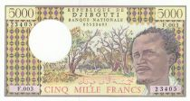 Djibouti 5000 Francs - ND 1979 - Serial F.003 - P.38c