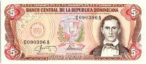Dominicaine Rép. 5 Pesos Oro, Juan Sanchez Ramirez - 1987