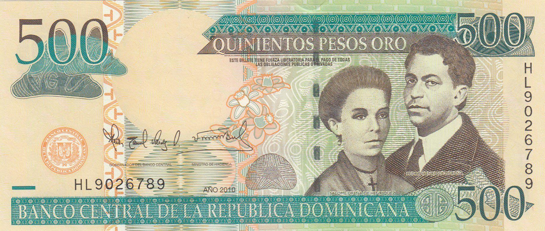 Dominicaine Rép. 500 Pesos S. U. de Enriquez, P. H. Zurena - 2010 - P.179c - Neuf