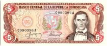 Dominican Rep. 5 Pesos Oro, Juan Sanchez Ramirez - 1987