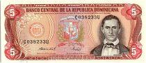 Dominican Rep. 5 Pesos Oro, Juan Sanchez Ramirez - 1988