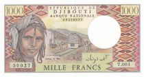 Dschibuti 1000 Francs ND1995 - Man, train, camels - Serial T.004