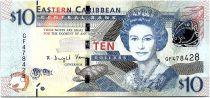 East Caribbean States 10 Dollars Elizabeth II - Admiratly Bay - the Warspite boat  - 2015 - P.52b - UNC