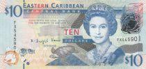 East Caribbean States 10 Dollars Elizabeth II - St Vincent - Letter V - 2003 - UNC - P.43v
