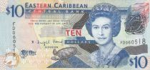 East Carribean States 10 Dollars Elizabeth II - Admiratly Bay - the Warspite boat  - 2008