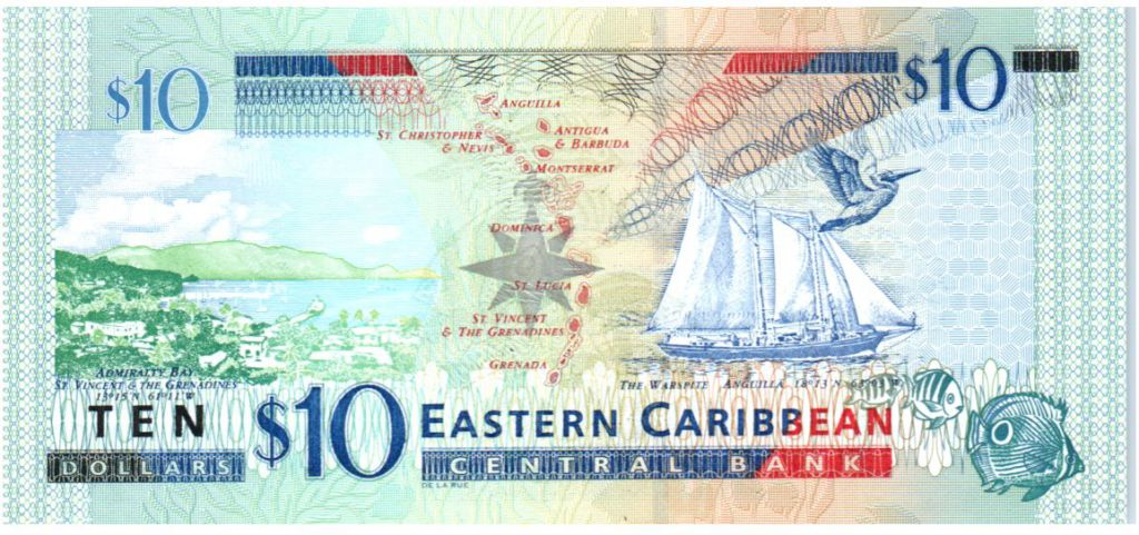 East Carribean States 10 Dollars Elizabeth II - Admiratly Bay , the Warspite boat - Letter M - 2003