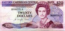 East Carribean States 20 Dollars Elizabeth II - 1988-1993 - Sufix A - VF