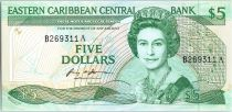East Carribean States 5 Dollars Elisabeth II - Palm tree - 1986