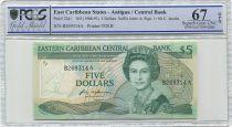 East Carribean States 5 Dollars Elisabeth II - Palm tree - 1988 - PCGS 67 OPQ